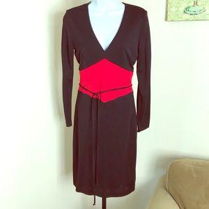 David Meister black red color block slinky dress 6